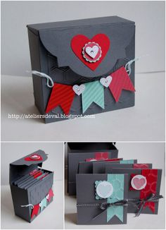 Les Ateliers de Val Stampin up - using window frame framelits as box lid