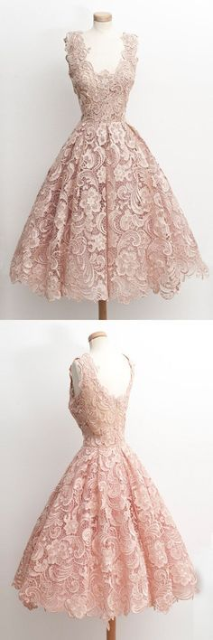 2016 homecoming dress,lace dress, party dress,vintage party dress,modest party dress,prom dress,short prom dress,pink lace prom dress ♦F&I♦