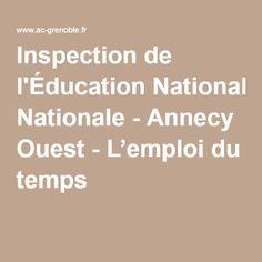 Inspection de l'Éducation Nationale - Annecy Ouest - L'emploi du temps