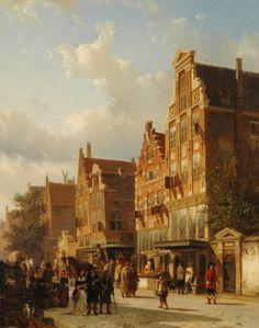Cornelis Springer (Amsterdam 1817-1891 Hilversum) Het quasi-huis van Rembrandt in de Sint Anthoniebreestraat, Amsterdam, met de poort van het Zuiderkerkhof - Kunsthandel Simonis en Buunk, Ede (Nederland).