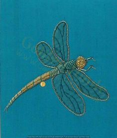 Needling Dragonfly Goldwork Kit , Intermediate Goldwork Embroidery 1 Bracelets A bracelet is an arti Gold Embroidery, Embroidery Kits, Embroidery Designs, Dragonfly Wall Art, Felt Cover, Goldwork, Awareness Ribbons, Metallic Thread, Flower Designs