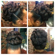 These undo black hairstyles are trendy. Natural Hair Updo, Natural Hair Care, Natural Hair Styles, Long Hair Styles, Twist Hairstyles, Wedding Hairstyles, Black Hairstyles, Child Hairstyles, Ponytail Styles