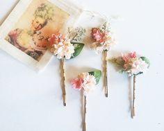 Blushing Bride Pastel Flower Bobby Pin Set-French Vintage Bride Spring Wedding Bridesmaids Hair Lana Del Rey