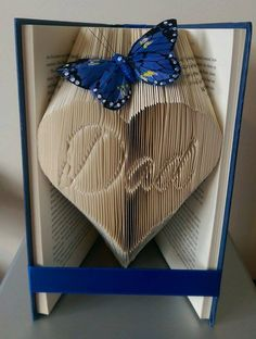 """Book folding pattern for """"Dad inverted in a heart"""" +free tutorial by BookFoldingForever on Etsy"""