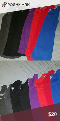 Bundle of 8 Old Navy Ribbed Tank Tops Size Large All tanks in good to excellent condition! 2 gray, 2 black, 1 purple, 1 dark orange,  1 red and 1 blue. Old Navy Tops Tank Tops