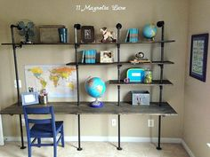 diy industrial shelving desk in a boys room - Boys Desk Ideas