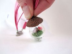 Your place to buy and sell all things handmade Little Acorns, Ribbon Necklace, Glass Terrarium, Glass Company, Spring Green, Bubbles, Place Card Holders, Minis, Handmade