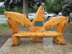 Chainsaw Carved Wood Benches | Salmon Bench - Soldotna, Alaska - Outside Wooden Display Carvings on ...