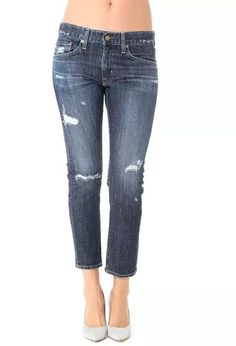 AG Jeans Official Store, The Ex-Boyfriend Slim - 10 Years Parched Wood, 10 years parched wood, Women's The Ex-Boyfriend Slim, White Trousers, Cuffed Pants, Ag Jeans, Cropped Trousers, Ripped Denim, Distressed Denim, Skinny Jeans, Boyfriend Pants, Stretch Denim