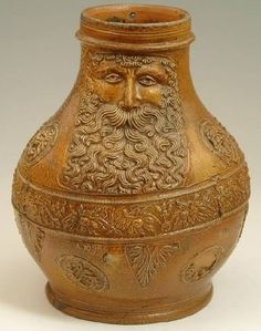 Bartmann or Bellarmine jug. Popular as witch bottles, these 16th century Stoneware jugs were made in Cologne, Germany.