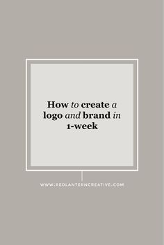 Yes, you can create a logo and brand in 1-week. I'll show you how!