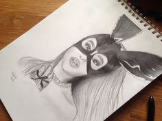 "I just finished my new Ariana Grande drawing. This is the ""dangerous woman"" album cover."