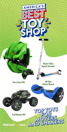 Find all the bestest, wheeliest, fasterest toys that have been Top Rated by Kids, at America's Best Toy Shop! #Walmart For kids who love to move and shake, we have the All Star Hover Board, Trail Buster RC, Razor Ultra Spark Scooter, Terra Sect RC and more at #AmericasBestToyShop Love Gifts, Gifts For Boys, Kids Christmas, Christmas Gifts, Xmas, Shop Walmart, Putty Toy, 8 Year Old Boy, Breastmilk Storage