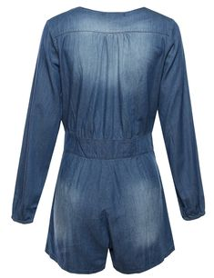 Made by Emma ZipUp Long Sleeve Denim Romper Blue L Size * Click image to review more details.(It is Amazon affiliate link) #JumpsuitsForWomen Denim Romper, Jumpsuits For Women, Zip Ups, Rompers, Amazon, Link, Long Sleeve, Blue, Image