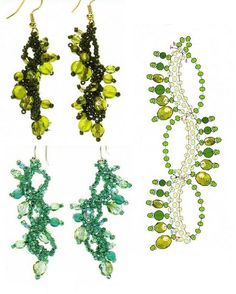 Earrings Schema - looks like 3 rows of peyote with embellishments.  Half-way to free-form.   #Seed #Bead #Tutorials
