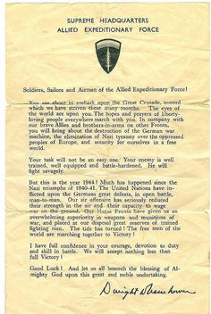 Message drafted by Gen. Dwight D. Eisenhower to encourage Allied soldiers taking part in the D-day invasion. June 6, 1944.