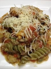 Pasta with Eggplant, Tomato and Basil.  Fast, easy and totally homemade Eating Dinner With My Family