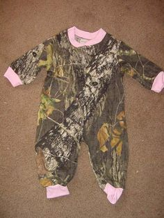 Camouflage Camo Pink Trim Baby Girl Infant Newborn Long Sleeve Baby Sleeper Creeper Mossy Oak. $20.99, via Etsy.