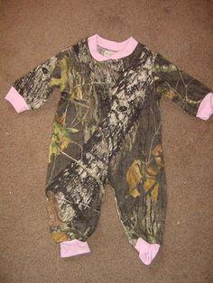 Camouflage Camo Pink Trim Baby Girl Infant Newborn Long Sleeve Baby Sleeper Creeper Mossy Oak. $20.99, via Etsy.