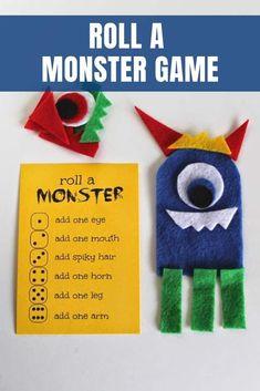 roll a monster game Monster Games For Kids, Monster Activities, Games For Toddlers, Fun Activities For Kids, Crafts For Kids, Toddler Games, Children Crafts, Indoor Activities, Family Activities