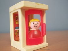 Vintage 1970s Fisher Price Little People Phone Booth and Blond Girl Figure by RetrowareExchange on Etsy