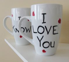 Star Wars I Love You I Know Tall Mugs/Cups Hand Painted-Random Hearts Collection by CANADIANCREATIONZ on Etsy