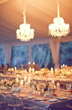Wedding-Reception-Tent-Chandeliers purple ivory red white