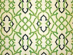 Waverly Green Cream and Navy Blue Fretwork Fabric Pillow Cover. $12.99, via Etsy.