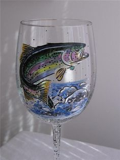 Hand Painted Wine Glass  RAINBOW TROUT FISH by LoveGoodThings, $27.00