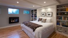 There is no shortage of modern basement ideas to borrow from. Unused basements tend to get filled with every old and unwanted item in the house from worn out furniture to childhood memorabilia…MoreMore Basement Master Bedroom, Basement Guest Rooms, Modern Basement, Basement Apartment, Cozy Bedroom, Bedroom Decor, Bedroom Ideas, Cozy Basement, Basement Finishing