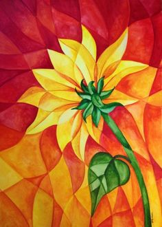 Abstracted Sunflower by Tiffany Budd Polygon Art, Sunflower Art, Color Pencil Art, Geometric Art, Abstract Watercolor, Fabric Painting, Art Lessons, Design Art, Art Projects