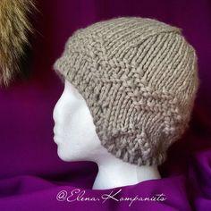 """Купить Скандинавская шапка с """"ушками"""" крупной вязки - серый, однотонный, скандинавский стиль, скандинавские узоры"""