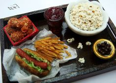 1:12 Scale Miniature Lunch Tray - Dollhouse Miniature Food