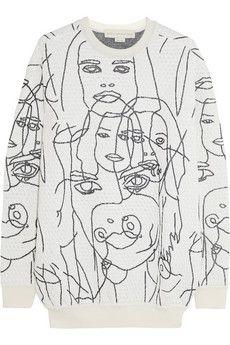 Stella McCartney Gary Hume intarsia cotton-blend sweatshirt   NET-A-PORTER