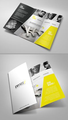 Unique Tri-Fold Brochure that only uses three colors to give it a clean and modern look for the company.