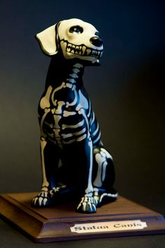 Ceramic dog skeleton very Day of the Dead by MarketForTheCool