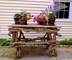 This unique wood and stone outdoor table is hand crafted from very mature bittersweet vines. I remove the vines with permission ...