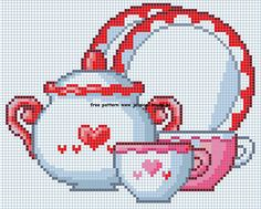 theepotten servies borduurpatronen teapots cups cross stitch patterns designs