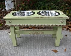 Raised Dog Bowl Pet Feeder Shabby Chic Lime Juice Green Copper Underlay 2 Two Quart Stainless Bowls For Large Dogs Made to Order Elevated Dog Bowls, Raised Dog Bowls, Dog Feeding Station, Pet Feeder, Green Copper, Large Dogs, Cottage Chic, Dog Bed, Your Pet