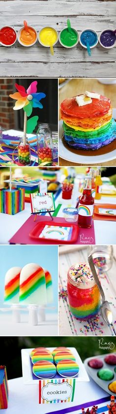 Love the rainbow cake in a jar and the food-colored pancakes (would be great for a morning-time party): Rainbow Birthday Party