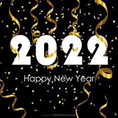 Free Happy New Year 2022 Gold Streamer and Confetti Background