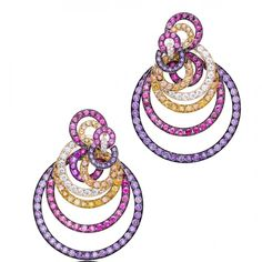 De Grisogono Gypsy Earrings - Pink and black gold set with amethysts, spinels, orange sapphires and diamonds Gypsy Jewelry, High Jewelry, Jewelry Box, Jewellery Earrings, Diamond Jewellery, Titanic Jewelry, Orange Sapphire, International Jewelry, Gold Set