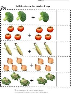 Interactive Notebook. With this Fruit and Vegetables Interactive Notebook Cut and Paste Activities set students in P-K, Kindergarten, Special Needs and Autism classroom can practice sequencing, fruit/veggie sorting, counting, addition and subtraction.     This product is ready to print and be used immediately.