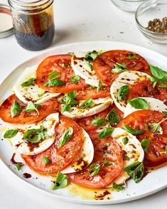 Caprese Salad With Balsamic Glaze. When tomatoes are at their peak, a classic caprese should be in constant rotation. The dressing for this impressive side dish (perfect if you need ideas for dishes and sides for potlucks or summer bbqs) is made with balsamic vinegar and NO SUGAR. you'll need mozzarella, tomatoes, basil, olive oil. Healthy salad for dinners and meals all summer long.