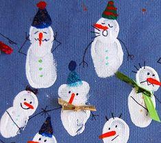 Fingerprint Snowmen Holiday Card | AllFreeKidsCrafts.com