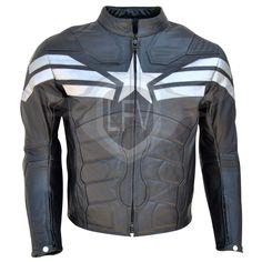 Captain America Black Genuine Leather Jacket.!!  Shop : http://bit.ly/1FX47Pg  #Captain #America #Motorcycle #Leather #Jacket