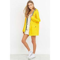 Petit Bateau Yellow Anorak ($175) ❤ liked on Polyvore featuring outerwear, coats, petit bateau, weatherproof coats, white anorak jacket, white raincoat and yellow anorak