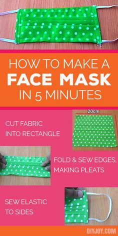 How to Make A Face Mask - DIY Face Masks With Free Sewing Pattern and Instructions #covidtips #sewingideas #sewingpatterns #facemask #covid Diy Sewing Projects, Sewing Hacks, Sewing Tutorials, Sewing Crafts, Dress Tutorials, Diy Crafts, Easy Face Masks, Homemade Face Masks, Diy Face Mask