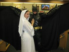 Princess Leia and Batman cosplay. Coliseum of Comics Re-Opening, Orlando, FL.  Leia costuming by Rebel Princess Cosplay & Costuming. 2013