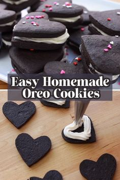 Make these easy and delicious Homemade Oreo Cookies in heart shapes!Perfect for Valentine's day or any party as it has pretty sprinkles and cream filling. Watch the video tutorial and see how quick I made these chocolatey cookies! Homemade Oreo Cookies, Heart Shaped Cookie Cutter, Cookies From Scratch, Oreo Desserts, Fun Cookies, Oreos, Vegetarian Chocolate, Chocolate Flavors, Heart Shapes